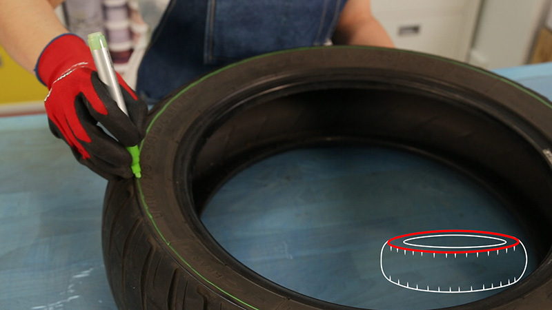 Marcado de la circunferencia superior de la rueda