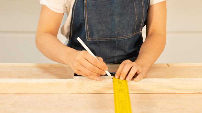 Medición de los listones de madera