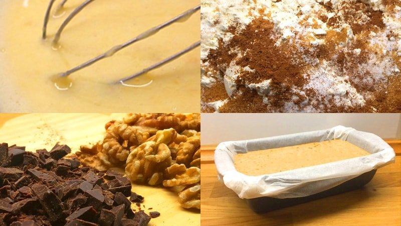 4 pasos: batir ingredientes húmedos, añadir elementos secos, añadir chocolate y nueces, y echar la masa en molde rectangular con papel de horno