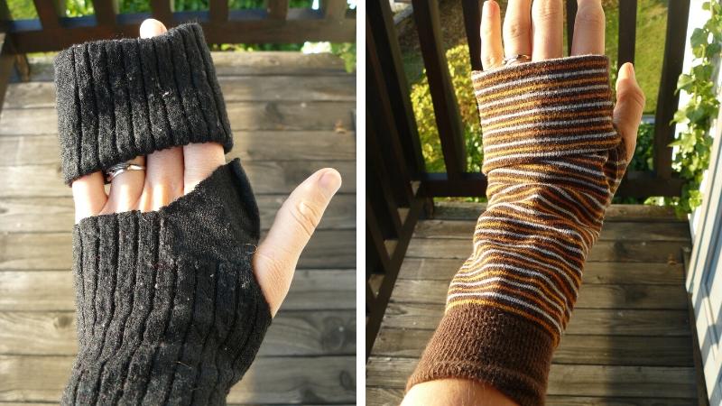 Guantes sin dedos con calcetines