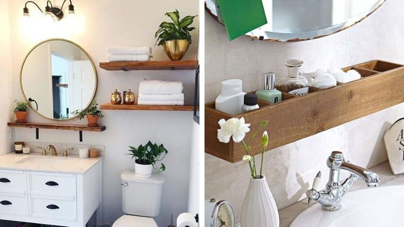 Aprovecha espacio sobre el lavabo y el inodoro