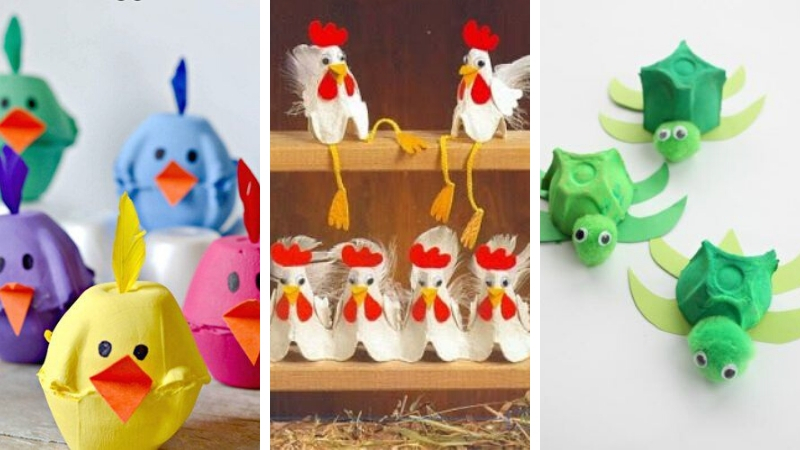 Animales con cartón de huevos