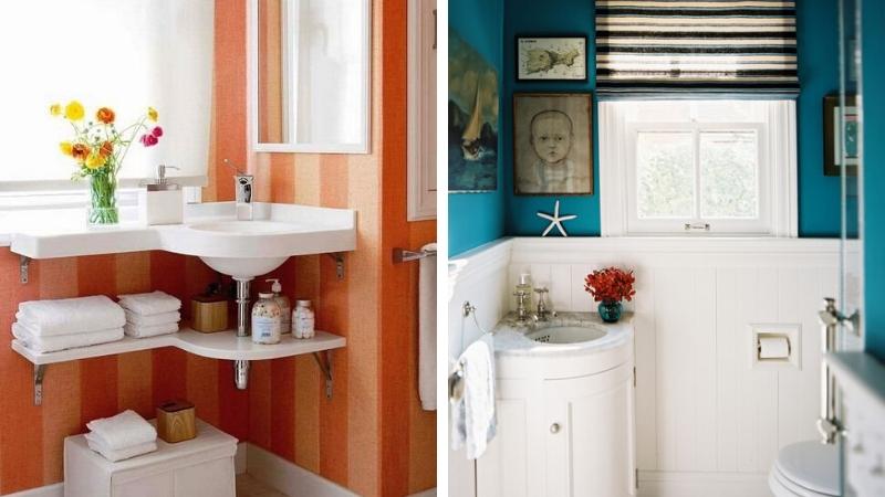 Lavabos esquineros para baños pequeños