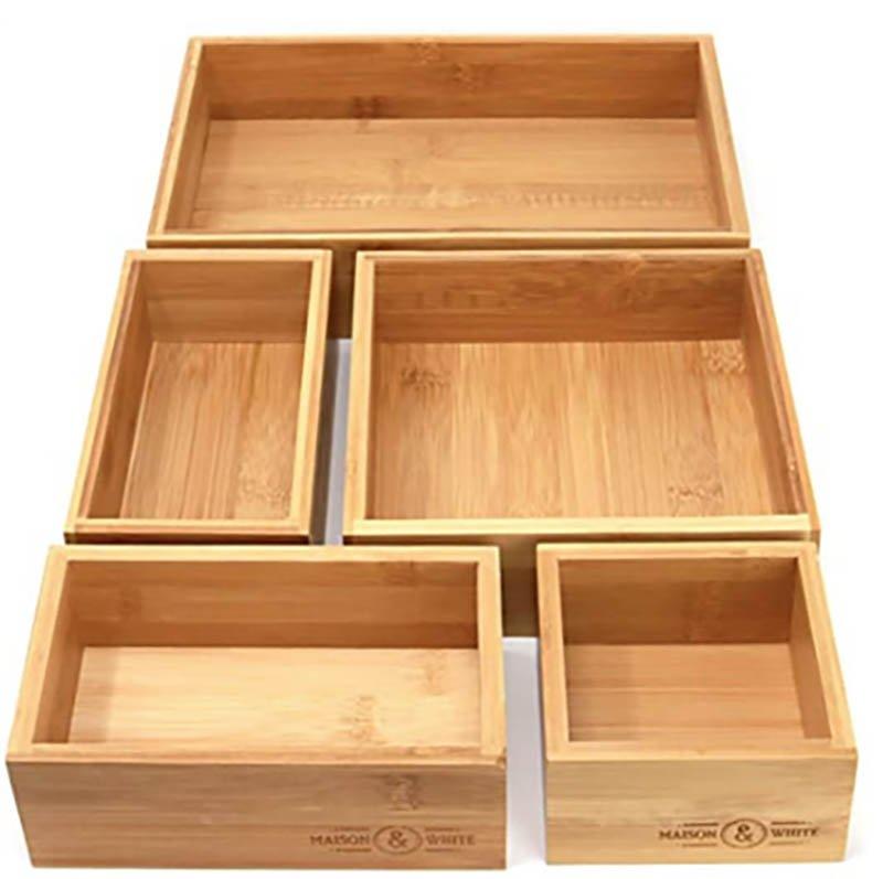 Organizadores de cajón de madera de bambú