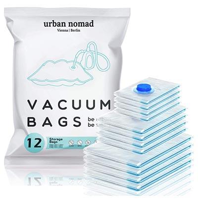 Bolsas de plástico para comprimir ropa durante el cambio de armario