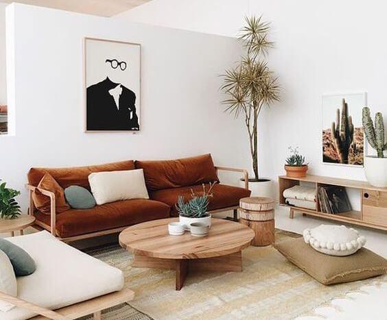 Salon en tonos tierra y madera