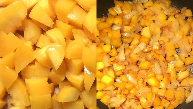 Pantalla partida con melocotón cortado en cuadraditos y salteado con la cebolla en la sartén