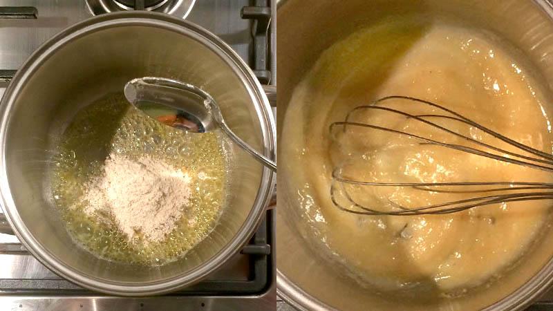 Pantalla partida preparando la roux de mantequilla y harina en una cacerola con un batidor de varillas