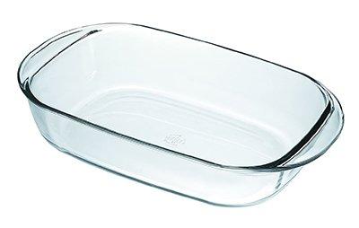 Fuente de horno transparente de la marca Duralex