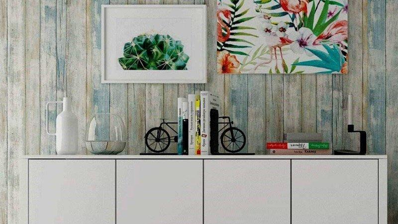 Vinilo de pared con efecto tablones de madera envejecidos