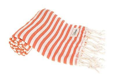 Toalla turca para el verano de algodón fino a rayas blancas y rojizas con flecos blancos