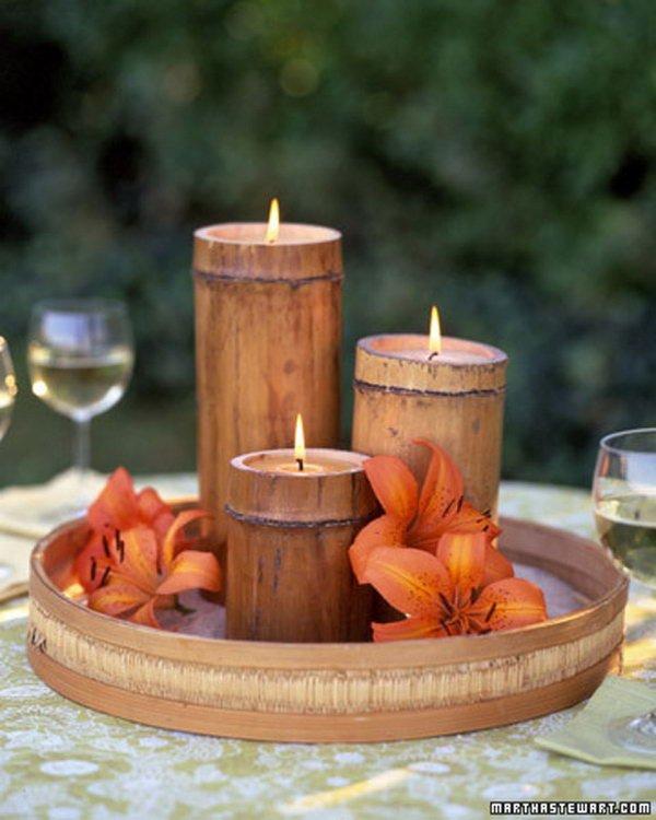 Portavelas DIY de caña de bambú