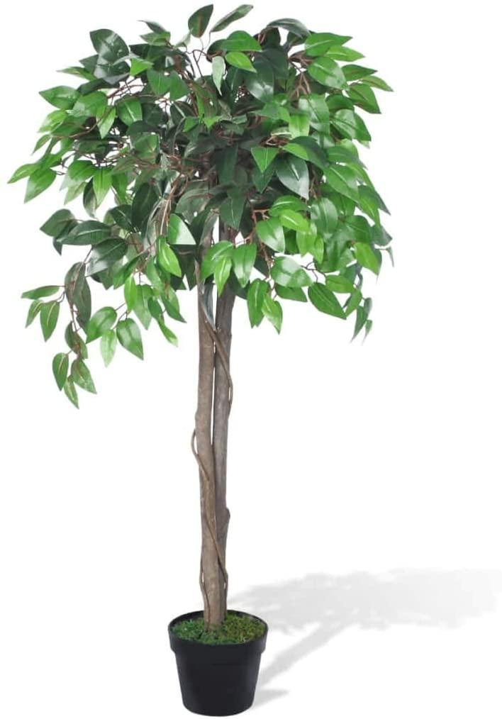 Ficus artificial en una maceta