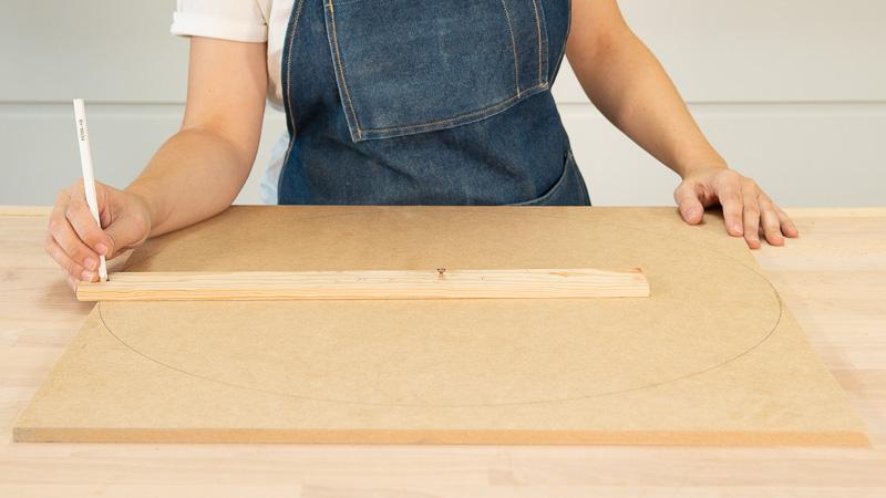 Dibujo de las piezas de madera circulares para formar la mesita