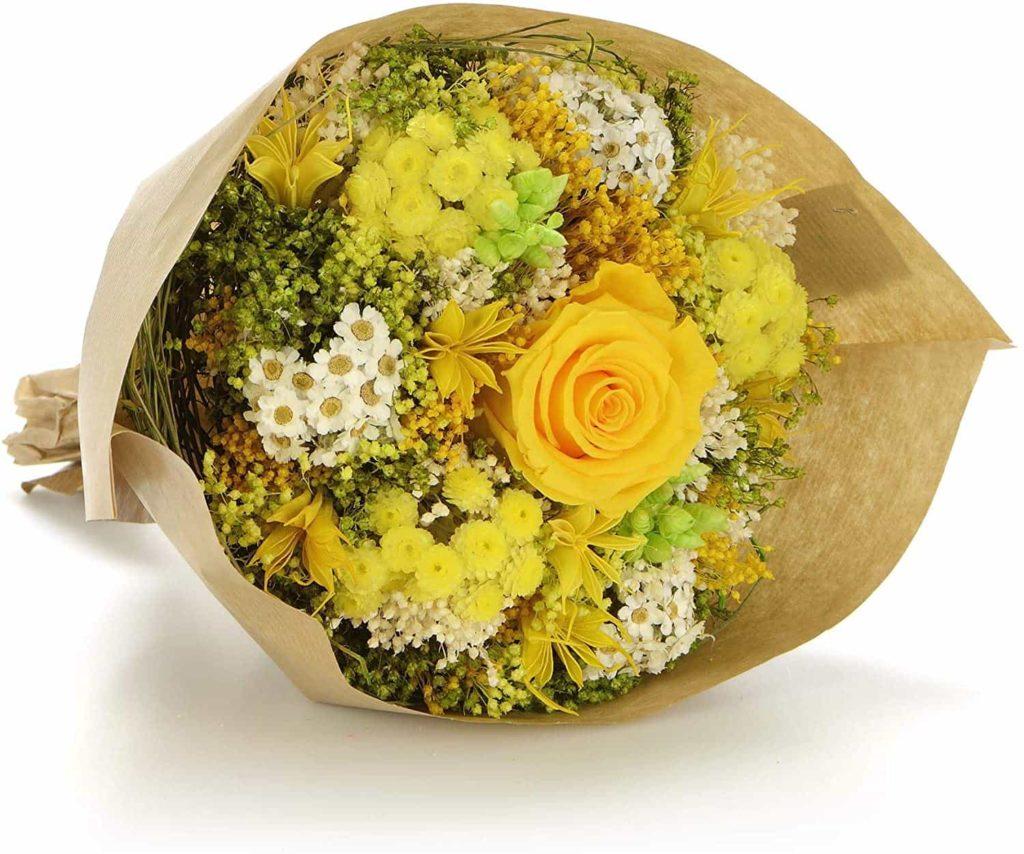 Ramo de flores preservadas amarillo