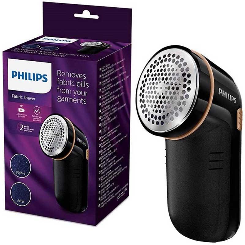 El quitapelusas eléctrico negro de Philips elimina los gránulos rápidamente gracias a su cabezal.