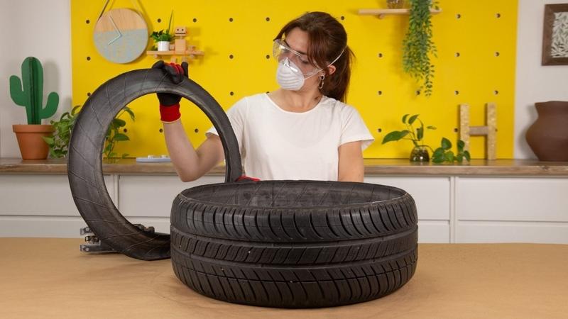 Neumático usado recortado con el borde