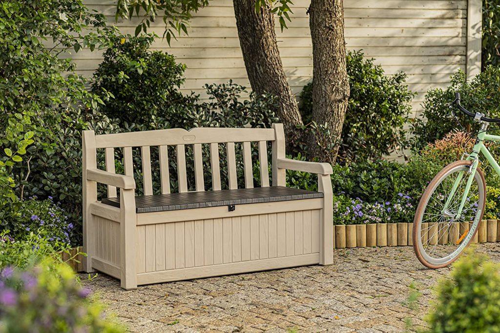 banco con arcón para almacenar objetos de la terraza y mantenerla organizada